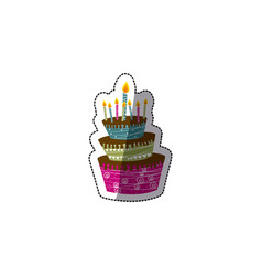 color big cake party with canddles icon vector image vector image
