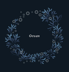 coral reef with bubble wreath for summer vector image