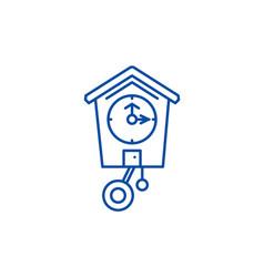 cuckoo clock line icon concept cuckoo clock flat vector image