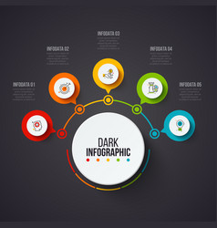dark abstract infographics number options template vector image
