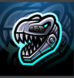 Dinosaur head robot esport mascot logo design vector
