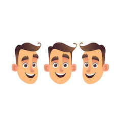 face of young cartoon man three kinds isolated vector image
