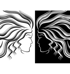 Female head silhouettes vector image