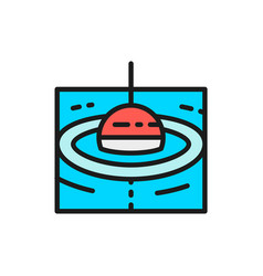 Fishing float flat color line icon vector