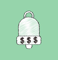 Flat shading style icon bell with dollar symbol vector