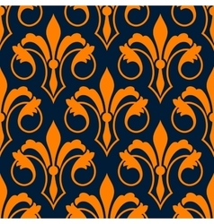 Fleur-de-lis seamless pattern with orange lilies vector image