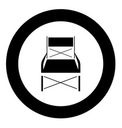 Folding chair black icon in circle vector