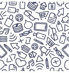 funny seamless pattern with different doodle icon vector image