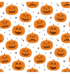 funny seamless pattern with pumpkin silhouette vector image