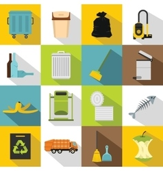 Garbage thing icons set flat style vector