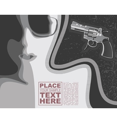 Girl and revolver on grunge background vector