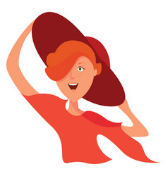 girl with red hat on white background vector image