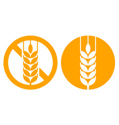 Gluten free and wheat ear sign vector
