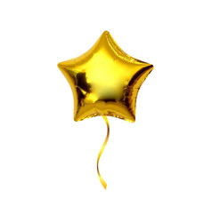 gold star helium balloon isolated on white vector image