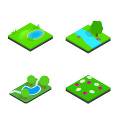 green land icon set isometric style vector image