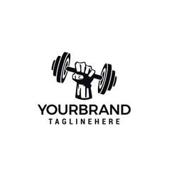 hand barbel logo design for fitness club design vector image