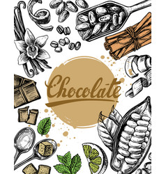 hand drawn sketch chocolate vector image