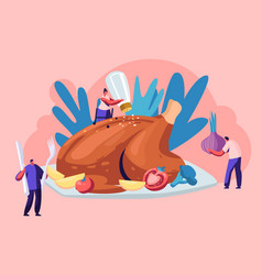 happy male and female characters cooking huge vector image