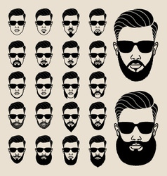 Hipster faces with beard user avatar icon set vector