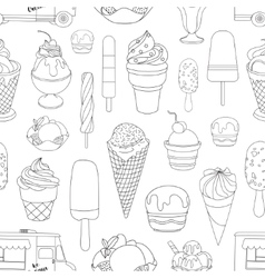 Ice creams collection pattern vector image