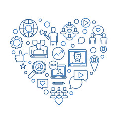 influencer heart thin line blue vector image