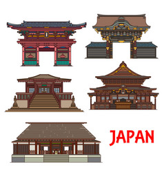 Japanese temple and shrine icons travel landmark vector