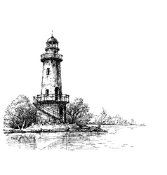 Lighthouse pencil drawing Etch style vector image