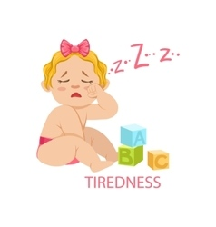 Little Baby Girl In Nappy Is Tired And Needs Sleep vector