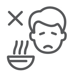 Loss appetite line icon diet and covid-19 vector