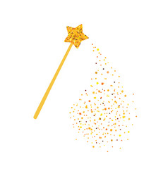 magic wand and gold sequins vector image