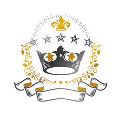 Majestic crown emblem heraldic coat arms vector