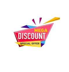 mega discount sticker in triangle style vector image