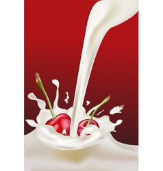 milk and cherries vector image