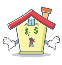 Money eye house character cartoon style vector