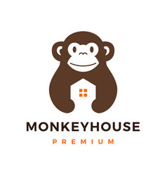 Monkey house logo icon vector