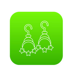 moon and star earrings icon green vector image