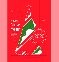 new year card with stylized christmas tree vector image