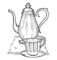 Old vintage teapot and cup engraving style vector