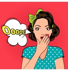 Ooops Surprised pop art woman vector image