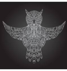 Ornamental hand-drawn owl vector image