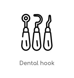 outline dental hook icon isolated black simple vector image
