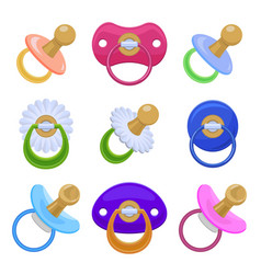 Pacifier icons set cartoon style vector
