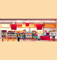 people in supermarket grocery vector image