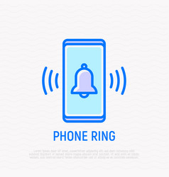 Phone ring bell ringing on mobile screen vector