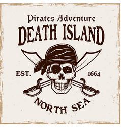 pirates emblem with skull in bandana vector image