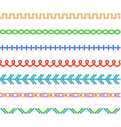 realistic detailed 3d colourful stitches set vector image