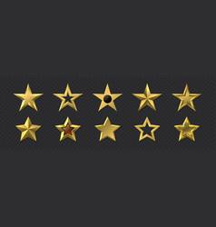 realistic golden stars 3d metal luxury awards vector image