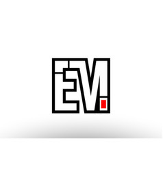 Red and black alphabet letter em e m logo vector