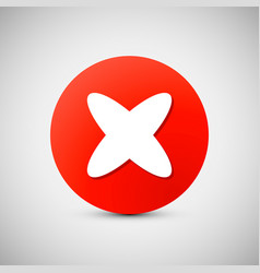 Red circle icon with white cross x shape delete vector