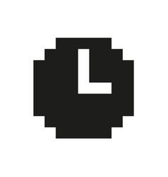 Retro icon of pixel clock monochrome vector